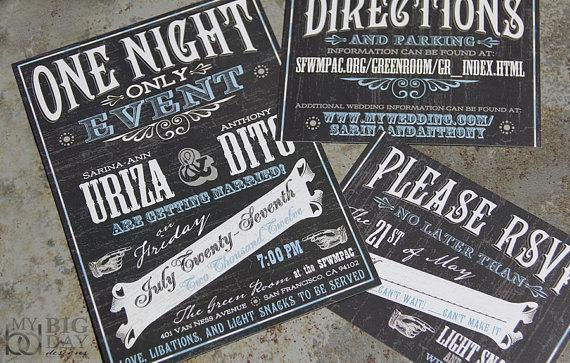 Vintage Vuadeville Chalkboard Art Themed Wedding Invitations