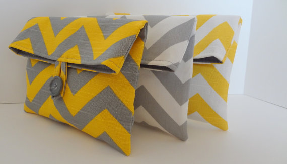 Mariage - Bridesmaid Clutch Set of 3 Chevron Clutches Makeup bags Yellow and Gray Wedding  /  Yellow Chevron Gray Chevron
