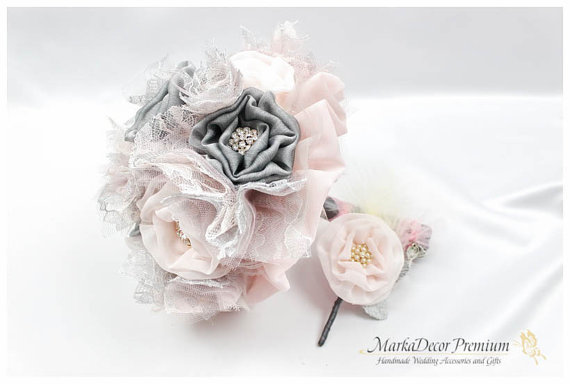 Свадьба - Set of 2 Bridal Brooch Flower Bouquet + Groom Father Wedding Boutonniere Jeweled Set in Light Pale Pink Grey Ivory