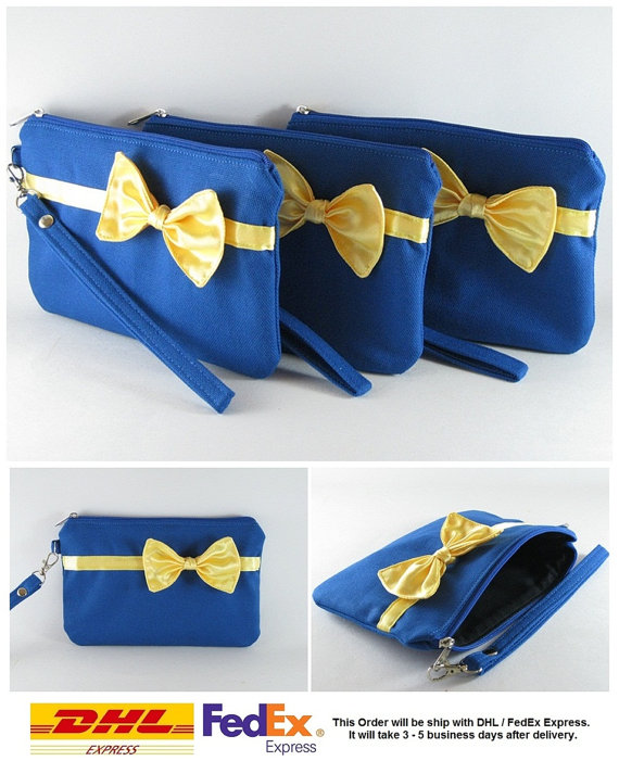 Свадьба - SUPER SALE - Set of 5 Royal Blue with Little Yellow Bow Clutches - Bridal Clutches, Bridesmaid Bag,Wedding Gift,Zipper Pouch - Made To Order