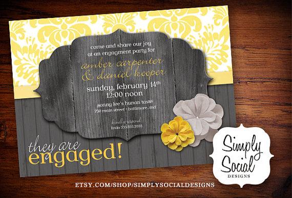زفاف - Rustic Engagement Party Invitation Grey and Yellow