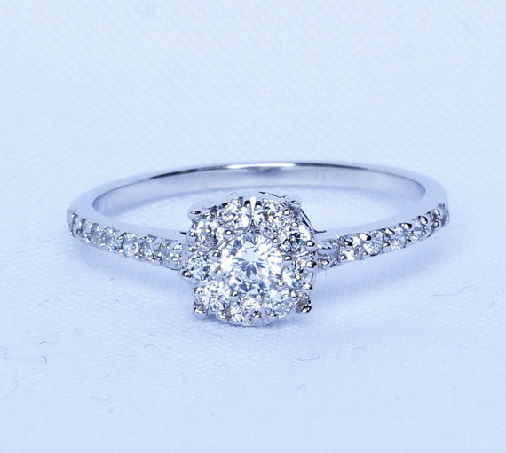 Natural White Shire Solid Sterling Silver Solitaire Engagement Ring Handmade
