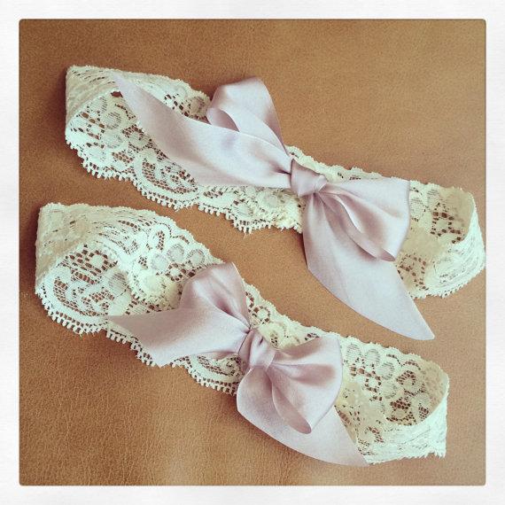 Wedding - Ivory Lace Garter + Blush Pink Bows - Garter Set - Wedding Garter - Lingerie Shower - Bridal Shower - GIFT - Prom Garter - BEST SELLER