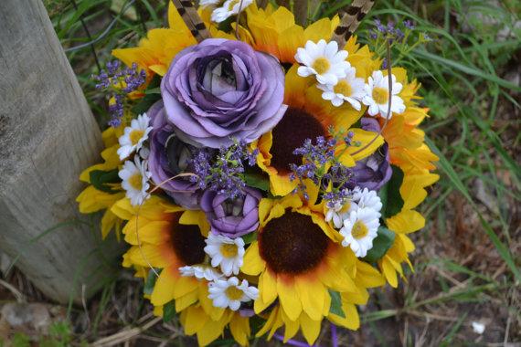 زفاف - Purple Sunflower Bridal Bouquet, Silk Wedding Flowers, Rustic Wedding, Vintage Wedding, Sunflower Wedding, Southern Wedding, Bridal Bouquet