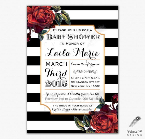 French Baby Shower Invitation Printed Or Printable Red Bridal – Black Red White Wedding Invitations