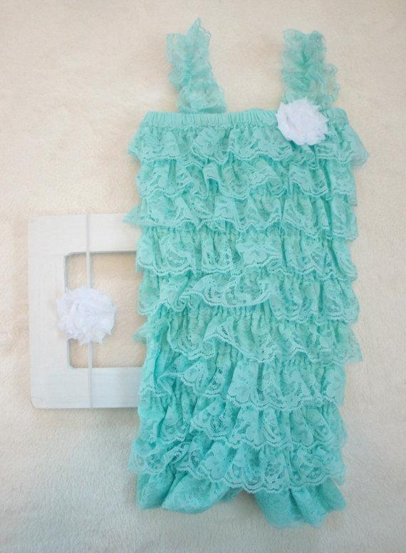 Nozze - Aqua Blue Lace Petti Romper & flower headband-Baby Girl Clothes-Preemie-Newborn Girl Clothes-Preemie-Infant-Child-Baptism-Flower Girl Dress