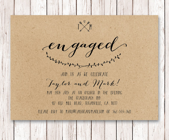 Rustic Engagement Invitation Kraft Engagement Engagement Party