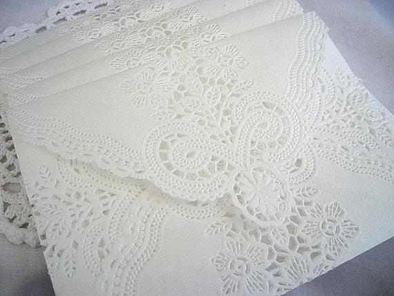 Vintage Handmade Wedding Invitations: Wedding Invitation White Doily Envelope Liners Paper Lace
