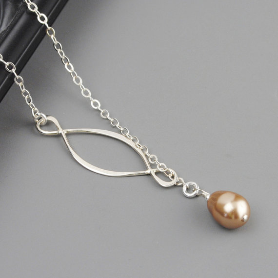 Mariage - SET OF 6 Wedding Jewelry -  Bronze Swarovski Pearl Bridesmaid Necklaces - Sterling Silver Lariat - Infinity Necklace - Bridesmaid Gift