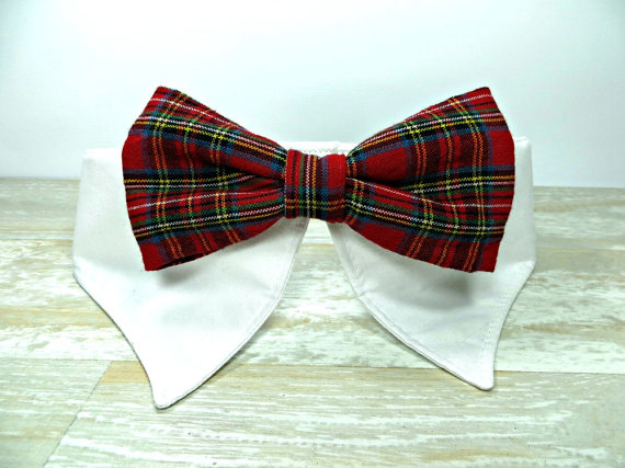 Свадьба - Dress Shirt Bow Tie Dog Collar, Red Plaid Bow Tie Formal Dog Collar, Pet Clothing, Pet Neckwear, Pet Accessories