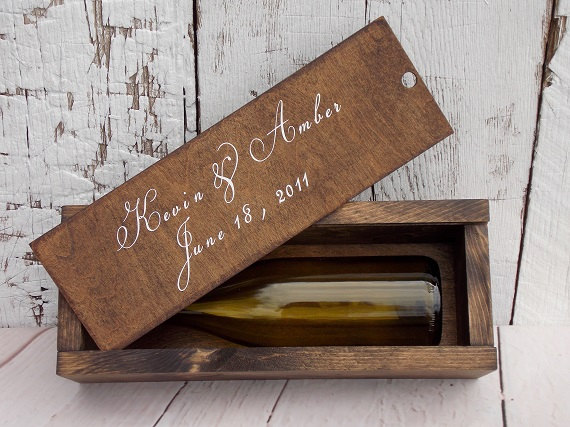 Rustic Wine Box Slide Lid Wood Wedding Ceremony Gift Top Bridal Shower