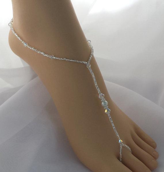 زفاف - Crystal Bridal Barefoot Sandal Crystal Wedding Foot Jewelry