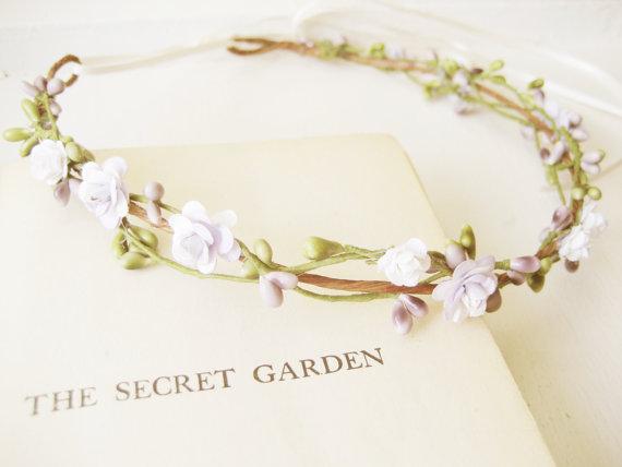 Свадьба - Pastel flower crown, Bridal headpiece, Woodland wedding hair accessories, Floral headband, Wreath, Green purple - SPRITE