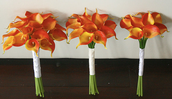 Wedding - Silk Wedding Bouquet with Orange Calla Lilies - Natural Touch Callas Silk Bridal Flowers