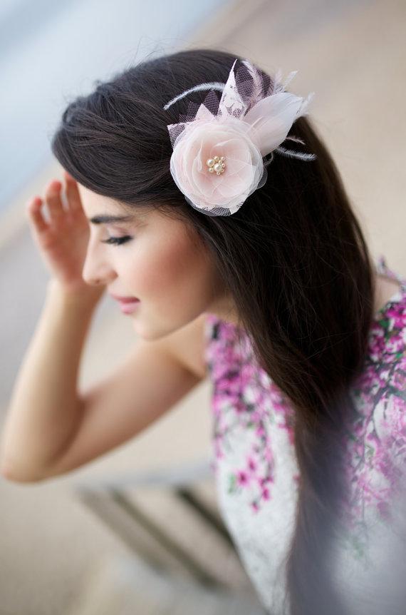 Свадьба - Blush bridal hair flower, Blush pink hair flower, Wedding hair piece, Blush pink Bridesmaid accessory, Blush bridal hairpiece