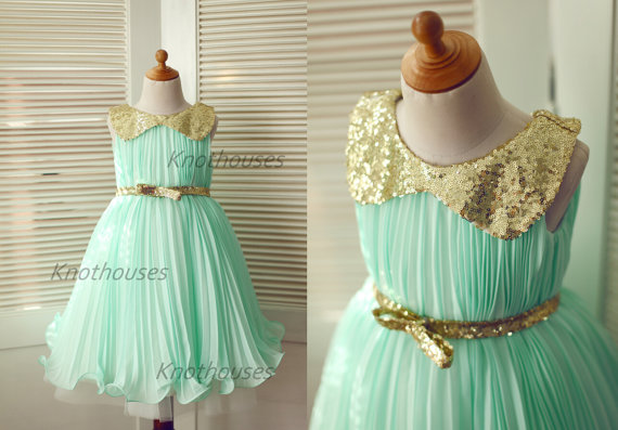 زفاف - Mint Blue Chiffon Gold Sequin Peter Pan Collar Tulle Flower Girl Dress Children Toddler Dress for Wedding Junior Bridesmaid Dress