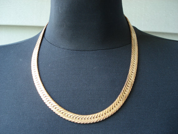 Mariage - Vintage 1970's Art Deco Wide Gold Serpentine Chain 18 Inch Necklace