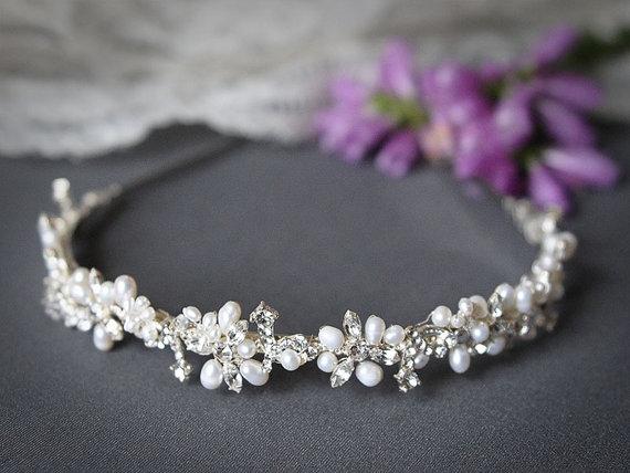 Mariage - ELVINA, Bridal Headband, Freshwater Pearl and Rhinestone Bridal Headband, Crystal Wedding Headband, Wedding Bridal Hair Accessories