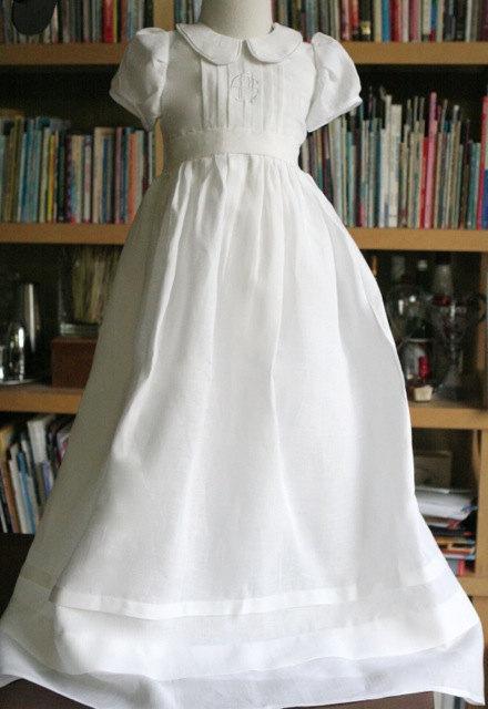 Свадьба - Simple First communion linen dress confirmation flower girl