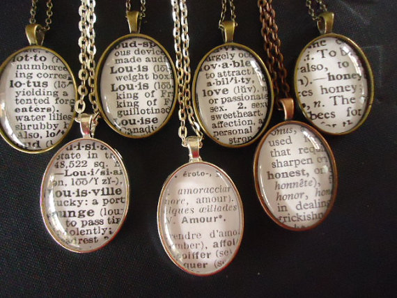 Свадьба - Wedding bridesmaid necklace or customized necklace dictionary necklaces very nice gadget as a gifts jewelry vintage dictionary words.