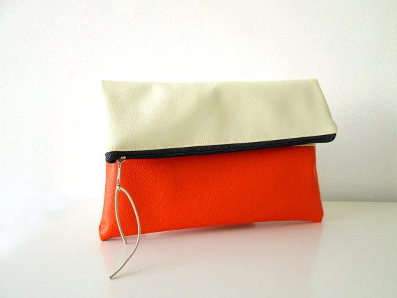 Wedding - Clutch purse Foldover,  Color Block, Cream and Orange, Bridesmaids gift, Wedding