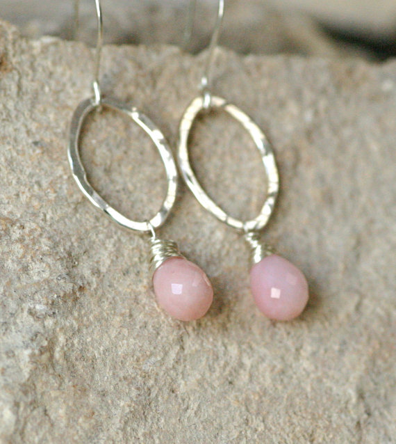 Свадьба - Pink opal earrings, October birthday gift under 50, October birthstone jewelry, opal jewelry - Clara