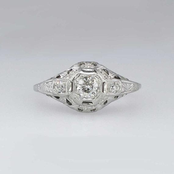 زفاف - Fantastic Art Deco .31ctw Filigree Old European Cut Diamond Engagement Ring 18k