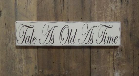 Свадьба - Tale as Old as Time, Ring Bearer Sign, Flower Girl Sign, Wedding Gift, Engagement Gift, Custom Wood Sign