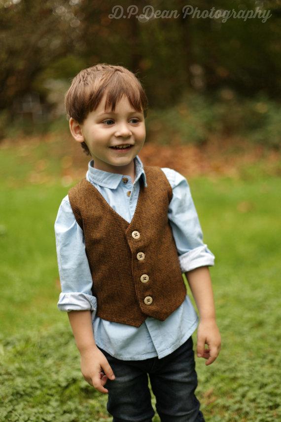 Свадьба - Boys Brown Vest, Toddler Brown Vest, Baby Boy Vest, Brown tweed vest, Boys tweed vest, Toddler tweed vest, Toddler boy vest, Little boy vest