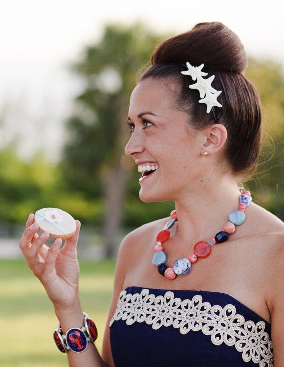 Mariage - Starfish Hair Accessories Headband-Triple Starfish Black Gloss Headband-Beach Weddings, Mermaid Costumes, Starfish