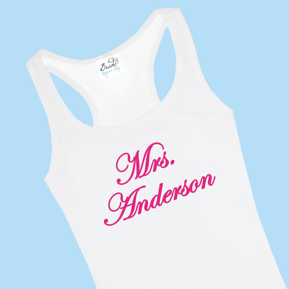 Свадьба - Custom Mrs. Bridal Lace Back Tank Top for the Bride to Be and Her Bridal Party