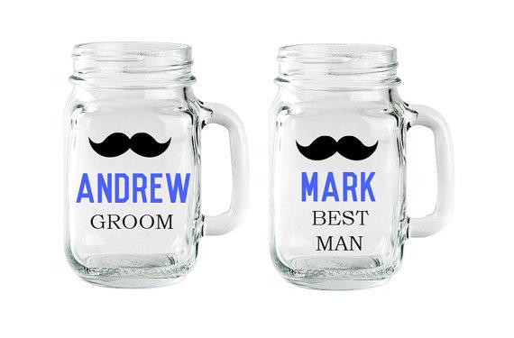 Hochzeit - Personalized Groomsmen Mugs, Groomsmen Mason Jars, Mustache Mugs, Groomsman Mustache Mugs, Grooms Mug, Groomsmen Gift, Best Man Gift