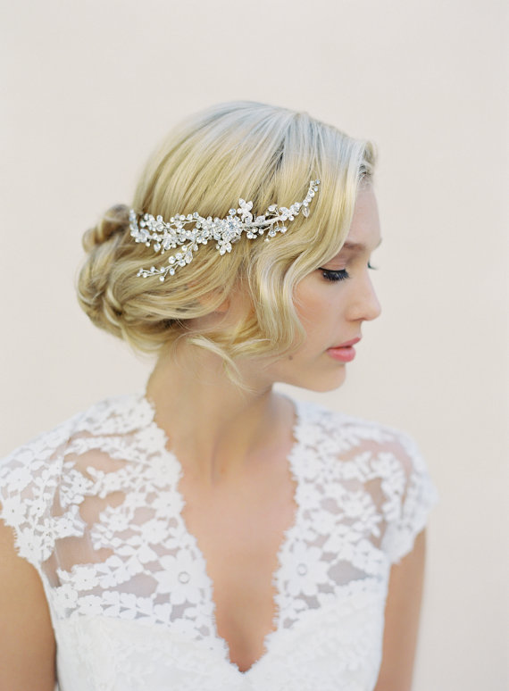 Enjoyable Bridal Halo Hair Comb Silver Wired Swarovski Crystal Boho Wreath Hairstyles For Men Maxibearus