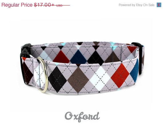 Свадьба - ON SALE Slate Argyle Dog Collar - The Oxford - Made to Order in Your Choice of Size