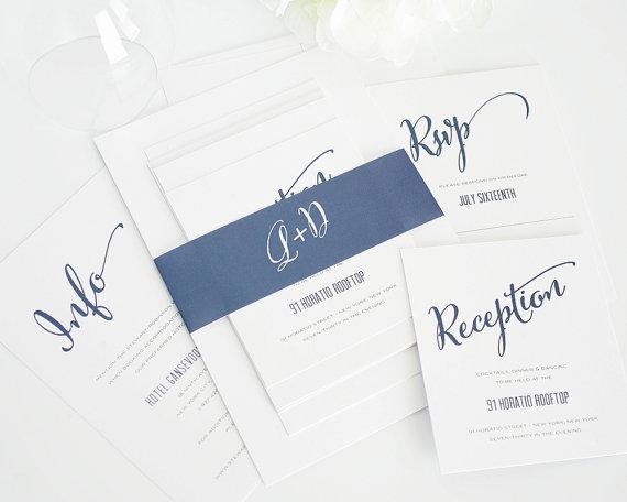 Unique Modern Wedding Invitation In Navy Blue By Shine Invitations Sample Set