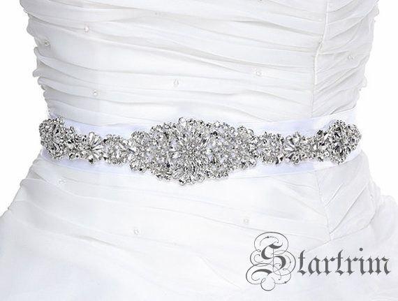 Hochzeit - SALE KINLEY Wedding Belt, Bridal Belt, Sash Belt, Crystal Rhinestones