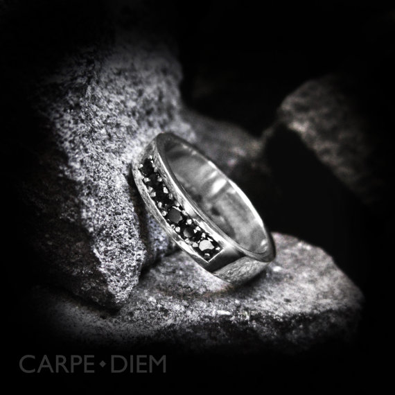 Black Diamond Ring Sterling Silver Mens And Womens Engagement