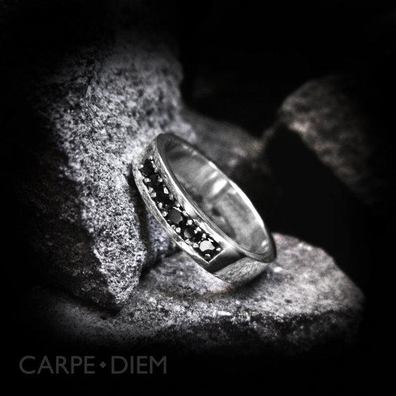 زفاف - Black Diamond Ring Sterling Silver Men's and Womens Engagement Wedding Band Rings