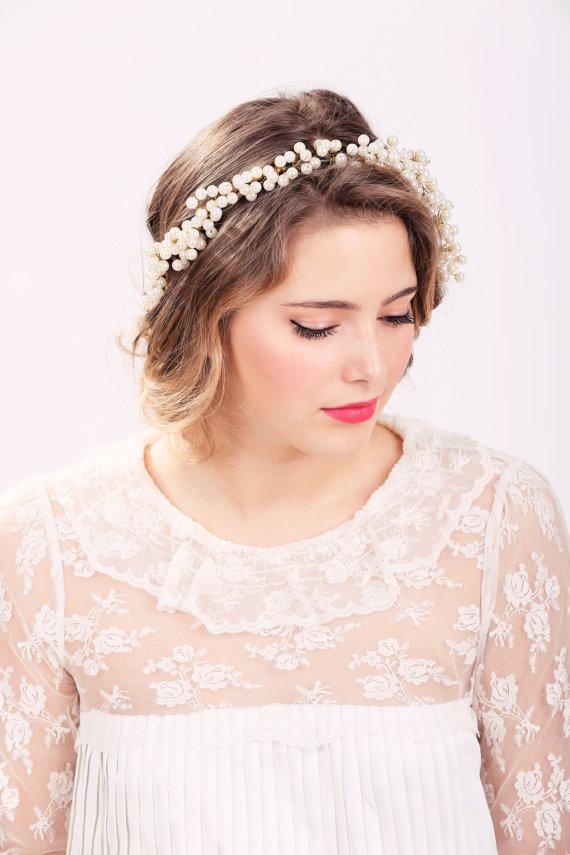 Mariage - pearl hair crown, pearl headpiece, wedding headband, bridal headband, bridal headpiece, wedding headpiece, wedding hair accessories
