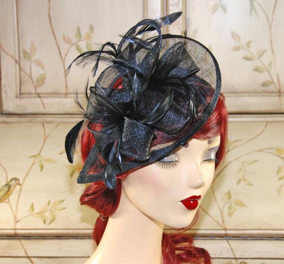 Mariage - Black Fascinator Headband - Black Kentucky Derby Hat - British Tea Party Fascinator - Church Hat - Wedding Fascinator Hat