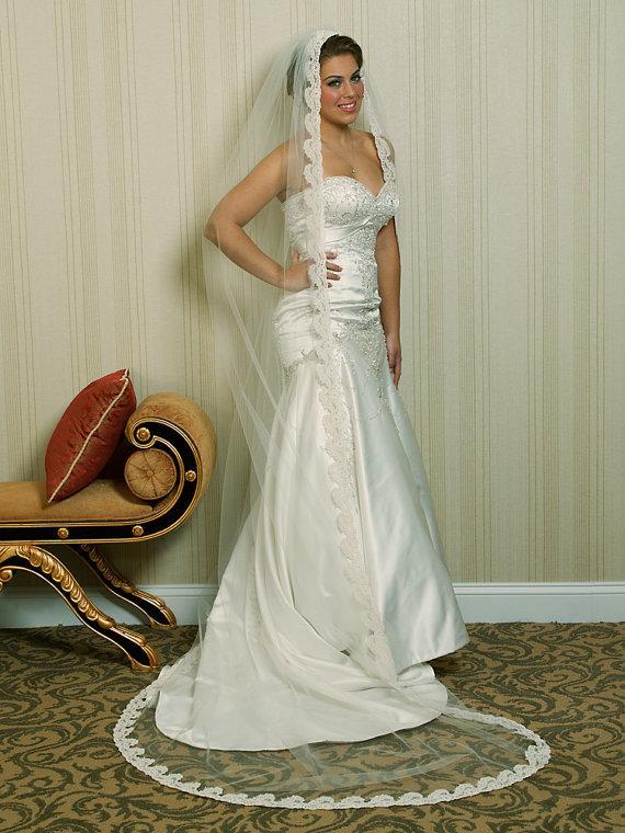 Wedding - Wedding Veil - Chapel  Bridal Alencon Lace Mantilla Veil -  made to order