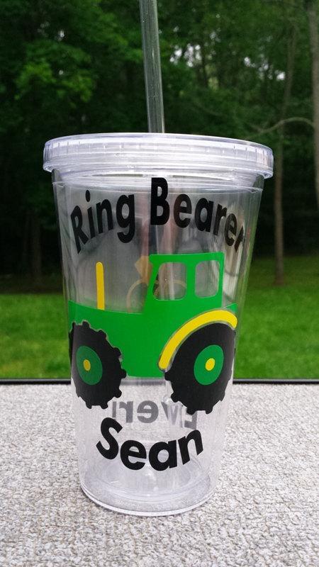 Hochzeit - Ring Bearer Gift, Tractor Ring Bearer Cup, Tractor Cup, Ring Bearer Tumbler, Boy gift, Country Wedding
