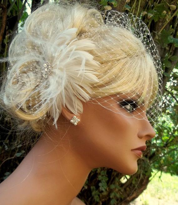 Wedding - Bridal Fascinator, Birdcage Bridal Veil, Feather Fascinator, Wedding Hair Clip White or Ivory 2 piece set, Wedding Set, Womens Accesories