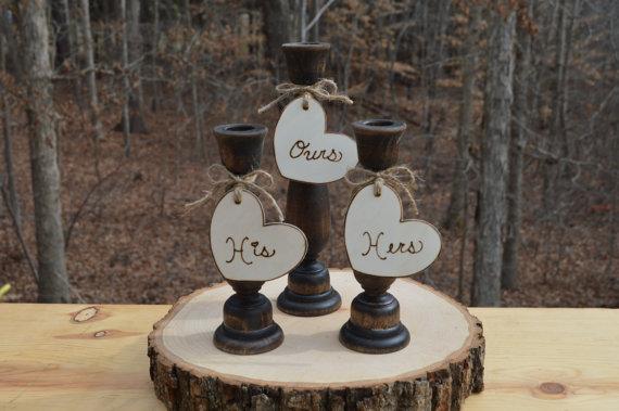 Country Unity Candle Holders Western Wedding Set Woodland Decor Of 3