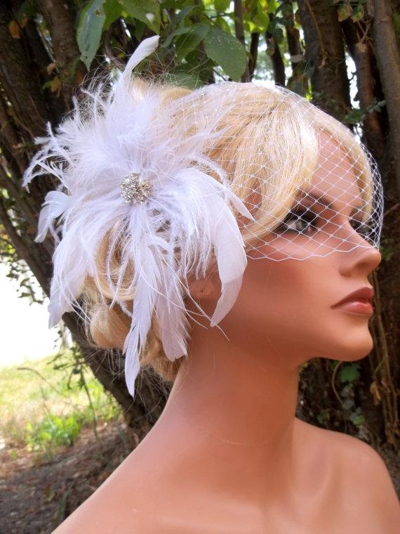 Wedding - Wedding White Bridal Hair Fascinator and Bandeau French Net Bridal Veil, Feather Fascinator Wedding Hair Clip, Bridal Veil, Wedding Veil
