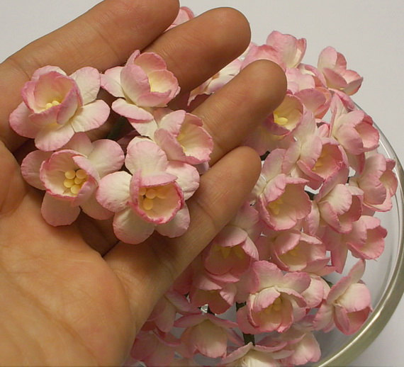 30 Pcs Size 1 Handmade Mulberry Paper Craft Flower Paper Flower