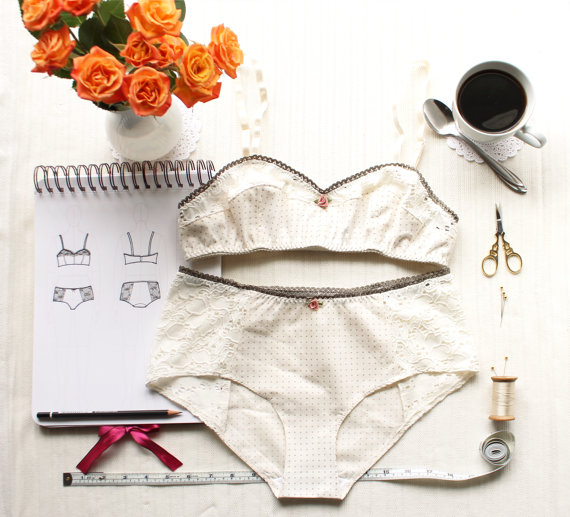 Mariage - Lingerie Set Sewing Pattern Ohhh Lulu Bambi Bra and Grace Panties Vintage Style Woven Lingerie PDF Instant Download Sewing Patterns