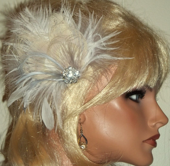 Wedding - GREAT GATSBY STYLE Silver and Ivory bridal hair fascinator rhinestone jewel feather fascinators wedding hair clip