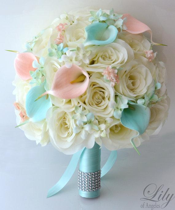 Wedding - 17 Piece Package Wedding Bridal Bride Maid Of Honor Bridesmaid Bouquet