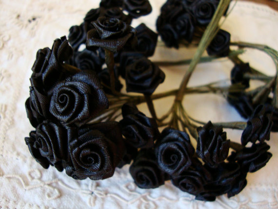 Black flower picks silk fabric flowers roses wired stems millinery black flower picks silk fabric flowers roses wired stems millinery wedding craft supplies black floral mini roses bouquet mightylinksfo